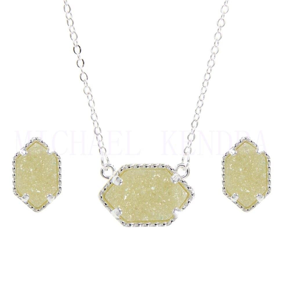 Овальный Стиль, смола, Druzy Drusy, ожерелье, серьги-гвоздики, ювелирный набор, шестигранный цвет, модный воротник, бренд, для женщин, для свадебно...