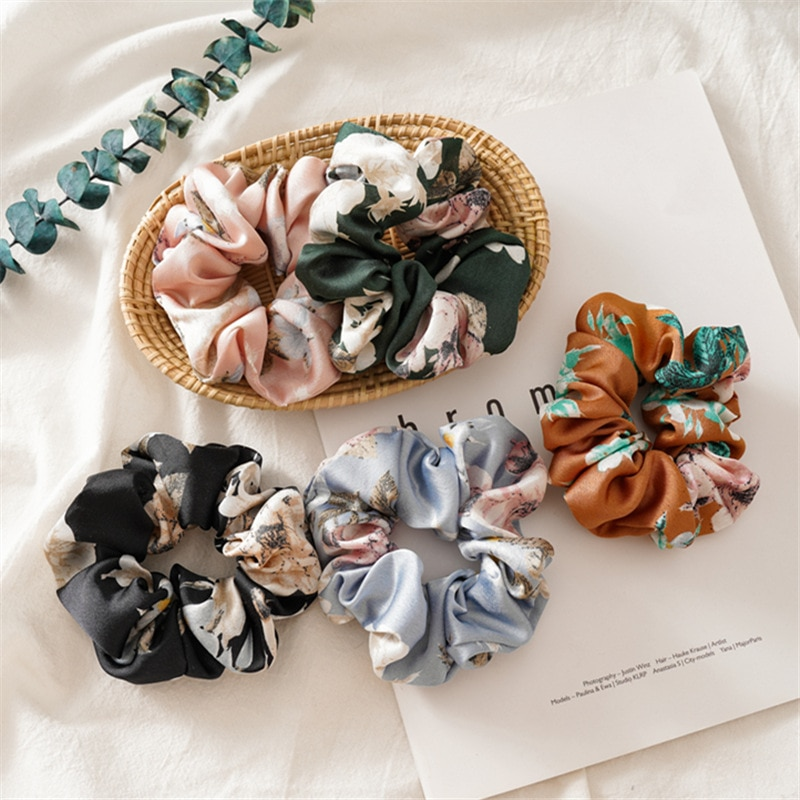 New Satin Hair Scrunchies for Women Flower Ponytail Holder Hair Rope Rubber Bands Hair Accessories Femme Coletero 5pcs/lot