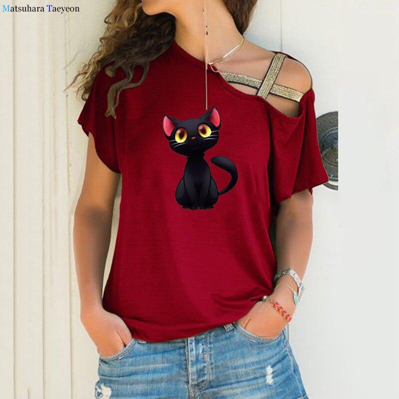 Женские футболки с рисунком животных, кошки, 2021, футболка с графическим рисунком, забавные женские футболки, повседневная одежда с коротким ...