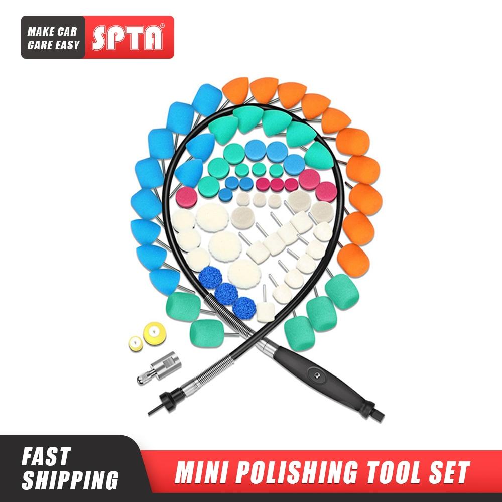 SPTA Mini Polishing Machine Car Beauty Detailing Polisher Extention Tools Polishing Kit for Rotary Polisher