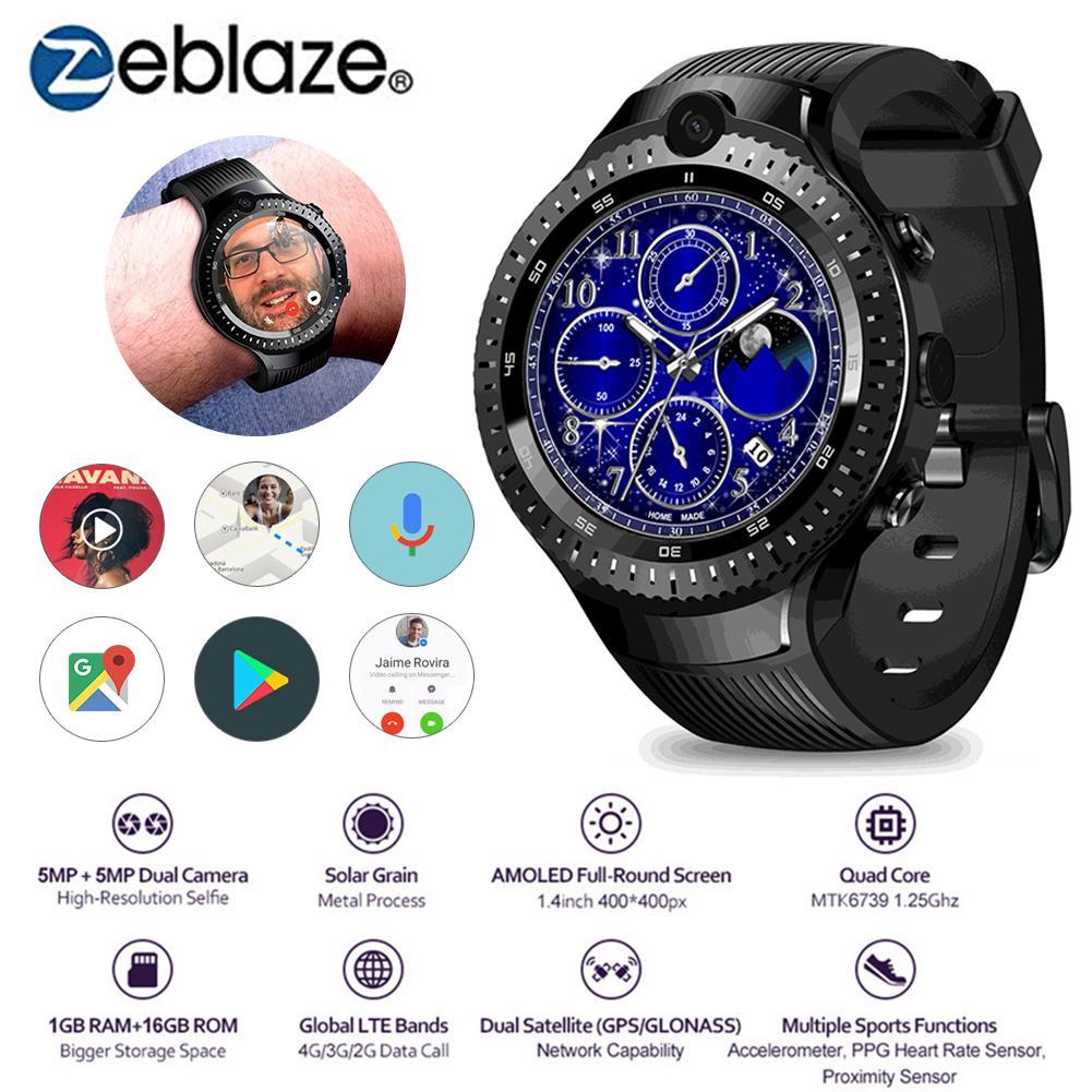 Outdoor Sport Watch Zeblaze THOR 4 Dual Smart Watch with 4G Dual Camera 1G Plus 16G Memory 530 MAh for Men Business Watch