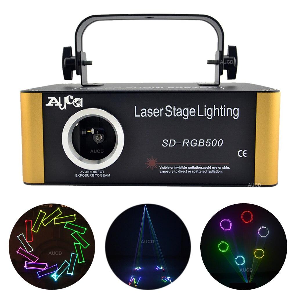 AUCD tarjeta SD DMX RGB a todo color Editable ILD animación de escaneo láser proyector luces Fiesta disco DJ mostrar haz de iluminación de escenario SDF5