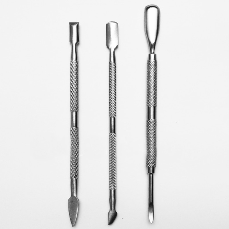 3Pcs/Set Stainless Steel Double Head Dead Skin Push Nail Pusher Cuticle Nail Pusher Manicure Nail Ca