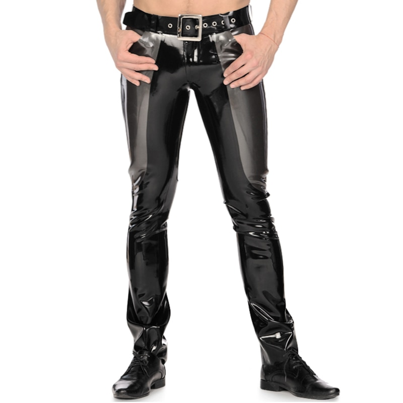 Silver And Black Sexy Latex Trousers With Zipper Buttons Pockets Rubber Pants Leggings Jeans Plus Size CK-0095