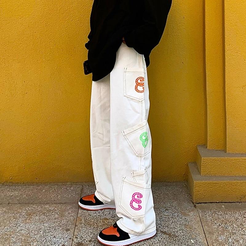 Retro Pocket Letter Print Straight Cargo Pants Men and Women Oversize Jeans Trousers Harajuku Streetwear Casual Denim Pants