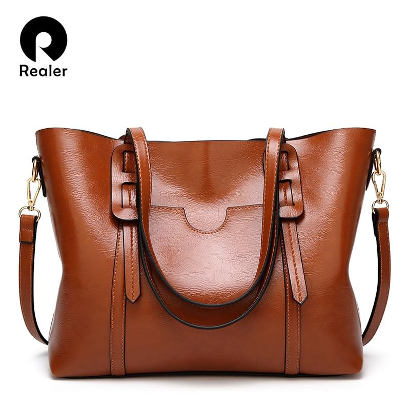 REALER women bag shoulder bag PU leather handbag large totes bags female strap messenger bag ladies crossbody top-handle bag
