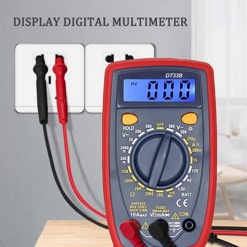 Multímetro Digital LCD DDIHOU, amperímetro, ohmímetro DC10V ~ 1000V 10A AC 750V, probador de corriente, pantalla LCD de prueba DT33B, 1 Uds.