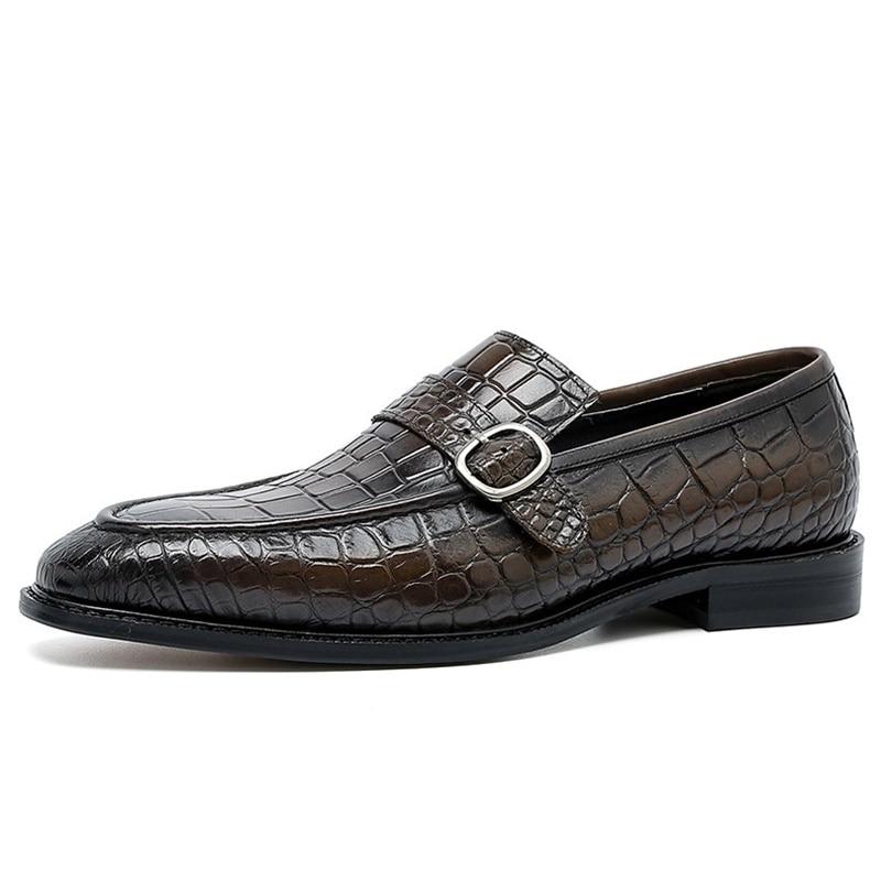 Купить с кэшбэком CGNP Crocodile Pattern 100% Genuine Leather Loafers Men Business Casual Shoes Slip On Dress Shoes Italian Formal Wedding Shoe