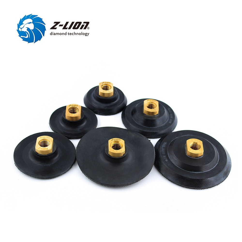 "Almohadilla trasera Z-LION de 3 ""/4""/5 ""para almohadilla de pulido de diamantes, soporte de disco de molienda a base de goma, rosca M14 5/8-11 para amoladora angular"