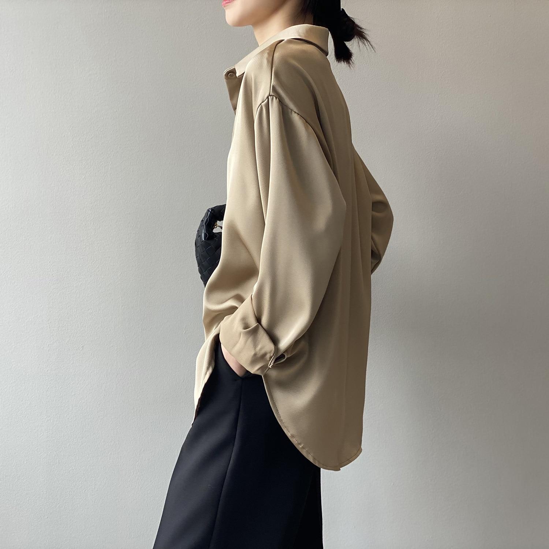 CMAZ Autumn Fashion Button Up Satin Silk Shirt Vintage Blouse Women White Lady Long Sleeves Female L