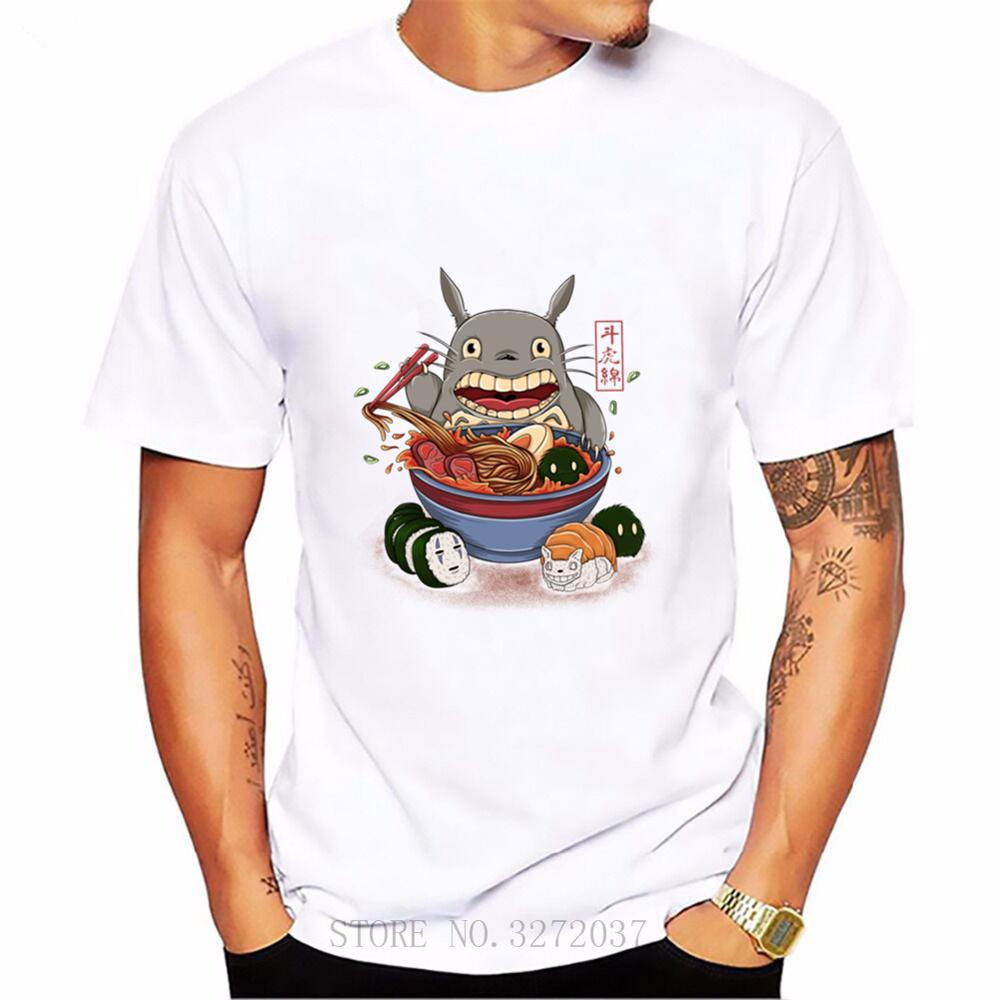 Camiseta de manga corta de Totoro ramen, Studio Ghibli de mujer, Anime japonés de dibujos animados, camiseta para hombre Hayao Miyazaki-