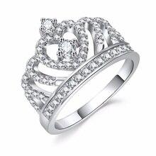Mode cristal coeur anneaux femmes couronne Zircon anneau bijoux femmes fête de fiançailles en gros