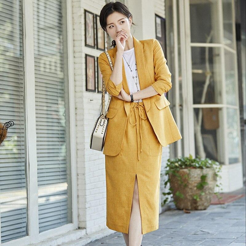 بدلة نسائية من قطعتين ، جاكيت بليزر من القطن والكتان ، تنورة فضفاضة ، ملابس نسائية ، أزياء صيفية