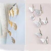 Autocollants muraux 3D or et argent  12 pieces lot  decorations artistiques pour la maison  pour exposition de papillons  pour fete et