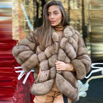 Women Real Fox Fur Coats 2021 Winter New Fashion Full Pelt Natural Fox Fur Jacket Medium Length Thick Warm Fur Overcoats Female