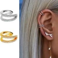 exquisite gold plated double v shape ear cuff clip earrings fake pierced earrings minimalist dainty white cz zircon ear jewelry