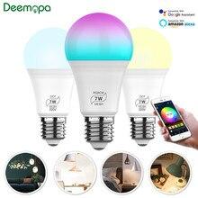 Bombilla de luz inteligente Bluetooth E27, lámpara LED RGBCW para trabajar con Alexa/Google Home 110V 220V CCT, función de temporizador regulable, Bombilla mágica