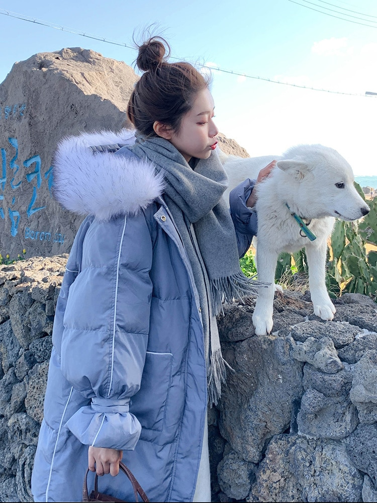 Down Parka  Winter Cotton Padded Jacket Female 2021 New Korean Loose Student Knee Length Down Cotton