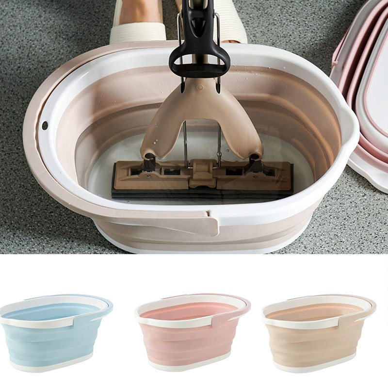 Plegable Cubo de fregona plegable lavado portátil cuenca Dishpan con mango para al aire libre L9 #2