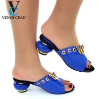 royal blue color italian women sandals shoe for party african wedding low heels slip on women pumps high quality wedding shoes