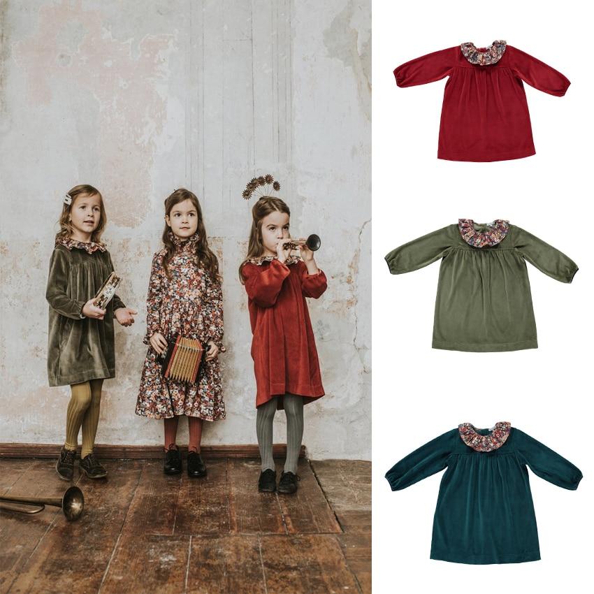 EnkeliBB BB o Kids Girl abito in velluto primavera autunno bambini manica lunga A-line abiti festa di compleanno abbigliamento per bambini