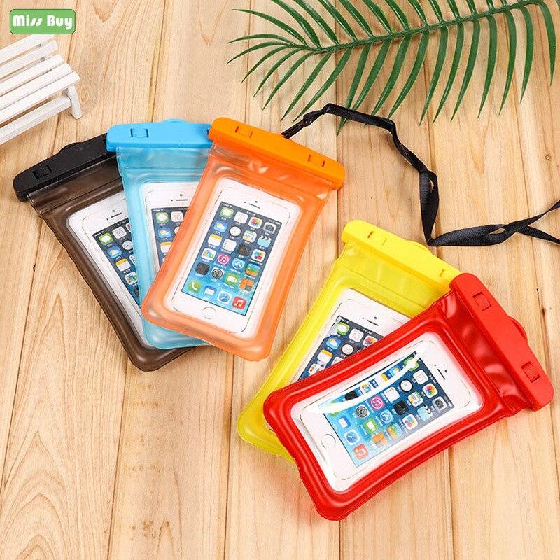 Bolsas flotantes universales para natación al aire libre bolsa impermeable para teléfono móvil con pantalla táctil funda subacuática para buceo en la playa