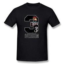 Мужская футболка Allen Iverson, футболка с коротким рукавом, Мужская забавная черная футболка