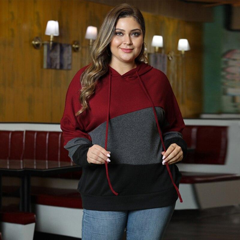 Женский пуловер Fioncrow большого размера, толстовка с капюшоном, полосатая Толстовка с длинным рукавом и капюшоном, осень 2021, женская одежда