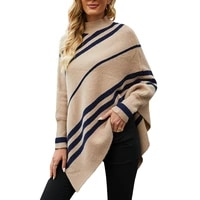 2021 fashion womens shawl cloak sweater casual hot sale high neck pullover stripe printing loose large size knitted sweater