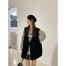 Fashion Temperament Suit Jacket Vest Korean Version Loose Solid Color V-neck Fold Wear Thin Sleevele
