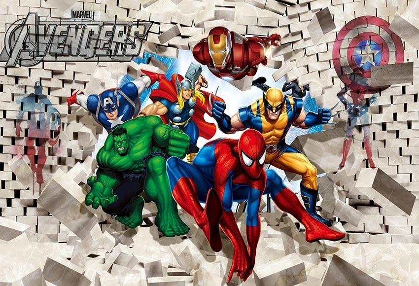 7X5 pies vengadores Super héroe superhéroe Spiderman Hulk Iron Man personalizado foto estudio fondos vinilo 220cm X 150cm