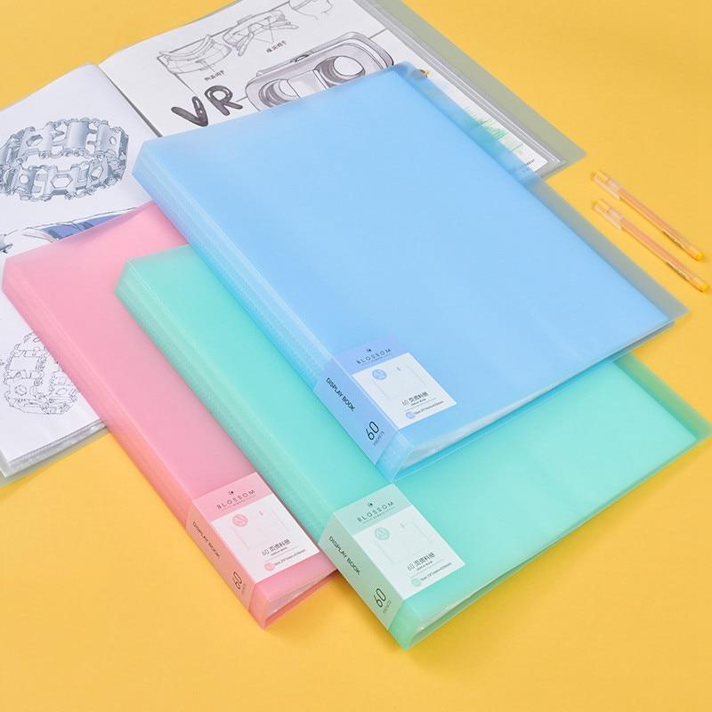 Папка для файлов A3, органайзер для бумаги для рисования, 40, 60 страниц, защитные пленки для документов, Канцтовары