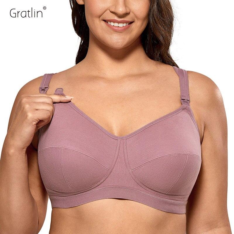 Gratlin-Sujetador de algodón de talla grande para mujer, sin aros, maternidad, lactancia, ropa interior suave para dormir