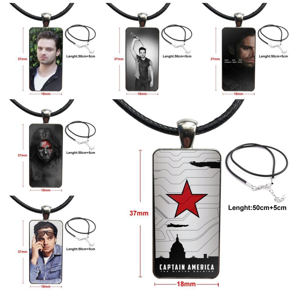 Para el regalo de fiesta de las mujeres, el modelo de Sebastian Stan Bucky barns, colgante de collar hecho a mano, medio colgante, collar con dije de rectángulo