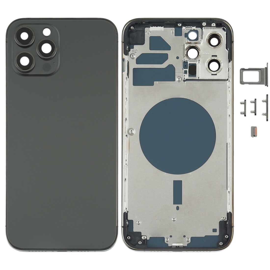 Review Back Housing Cover with SIM Card Tray & Side keys & Camera Lens for iPhone 12 Pro Max