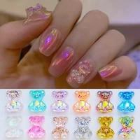 3d crystal bear nail art rhinestone accessories aurora crystal gems manicure candy color bear nail art decorations 61050pcs