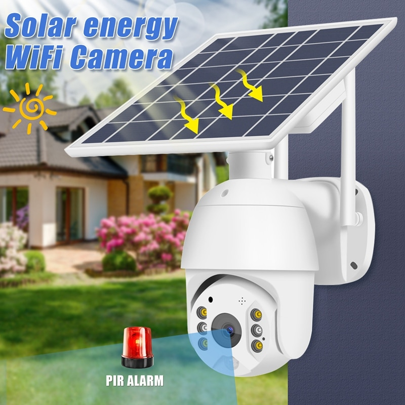 T16 واي فاي كاميرا مراقبة بالطاقة الشمسية 350 درجة تدوير الكاميرا Ip67 مقاوم للماء ليلة كشف بطاقة Sd للمنزل/الشركة