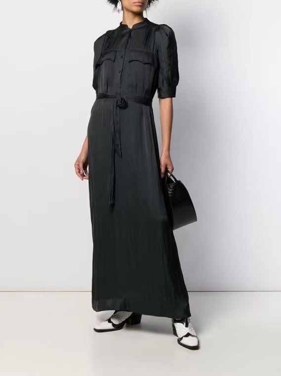 المرأة عادية 2021 جديد الصيف العلوي أزرار الوقوف طوق مرونة الخصر الزنانير نفخة كم فستان طويل