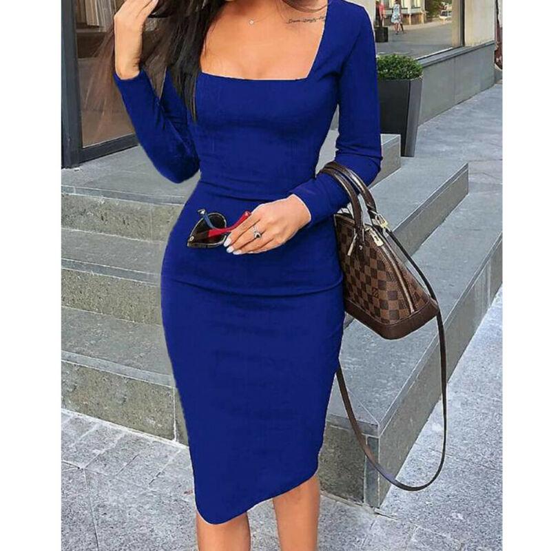 Женское облегающее платье дамы миди платье 2020 Sring осень длинный рукав квадратный воротник карандаш платье