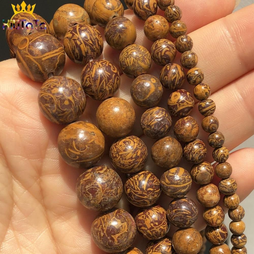 Jaspes de piel de elefante de piedra Natural, cuentas espaciadoras sueltas redondas para joyería DIY, fabricación de pulseras, accesorios de 15 4 6 8 10 12 mm