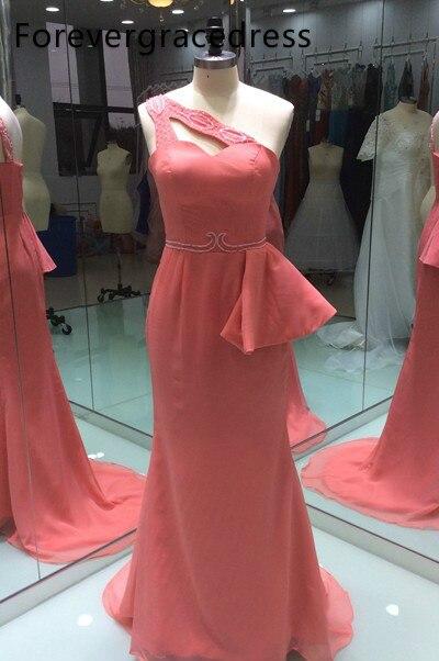 Coral Peplum vestido sirena para dama de Honor de un hombro con cuentas invitado Formal de vestido de Honor de talla grande de