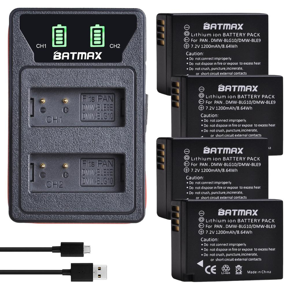Batmax, DMW-BLG10, BLE9E, batería de DMW-BLE9 + cargador USB Dual LED con tipo C para Panasonic LUMIX GF5 GF6 GX7 LX100 GX80 GX85