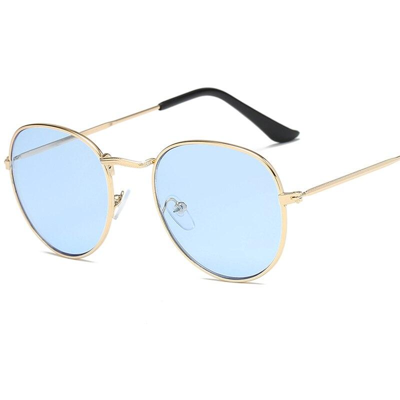 Sea Color Round Sunglasses Men Round Metal Mens Sunglass Brand Designer Retro Glasses UV400 sunglasses for women