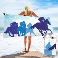 quick dry beach towel race horses and jockeys microfiber bath towel beach cushion swimming personalized sand free beach towel