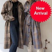 Autumn Winter Women Long Woolen Long Plaid Shirt Coat Long Sleeve plus size Bandage Elegant Overcoat Outer Wear vintage Jacket