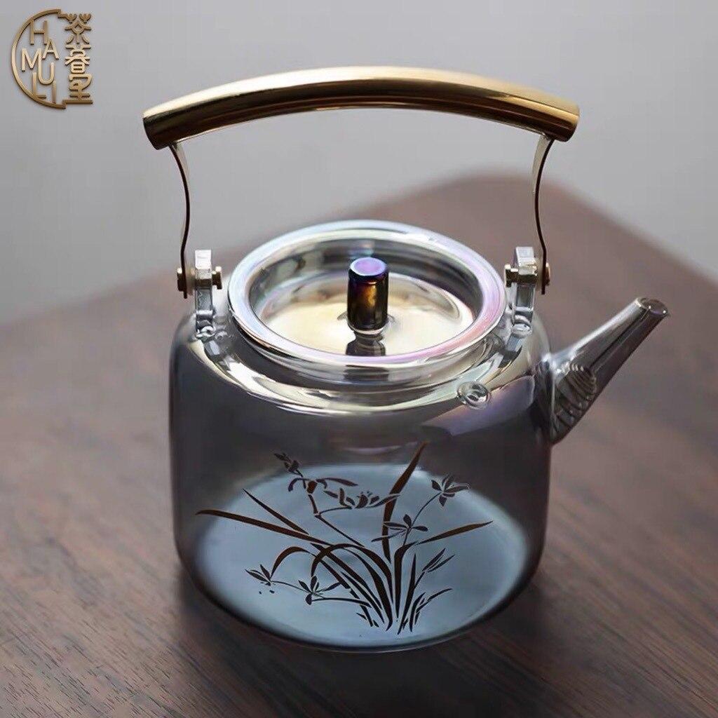 وعاء زجاجي ملون مقاوم للحرارة العالية ، سعة كبيرة للشاي ، فرن سيراميك كهربائي