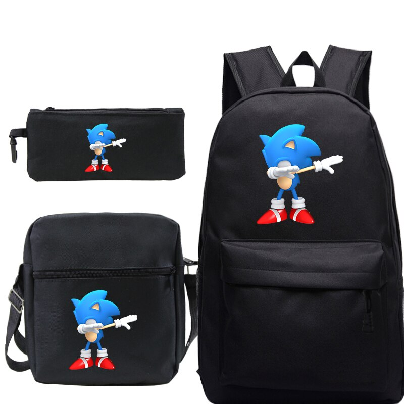 Sonic Backpack Sets Teenage Girls Boys School Bags Laptop Travel Backpacks with Pen Bag and Shoulder Bags