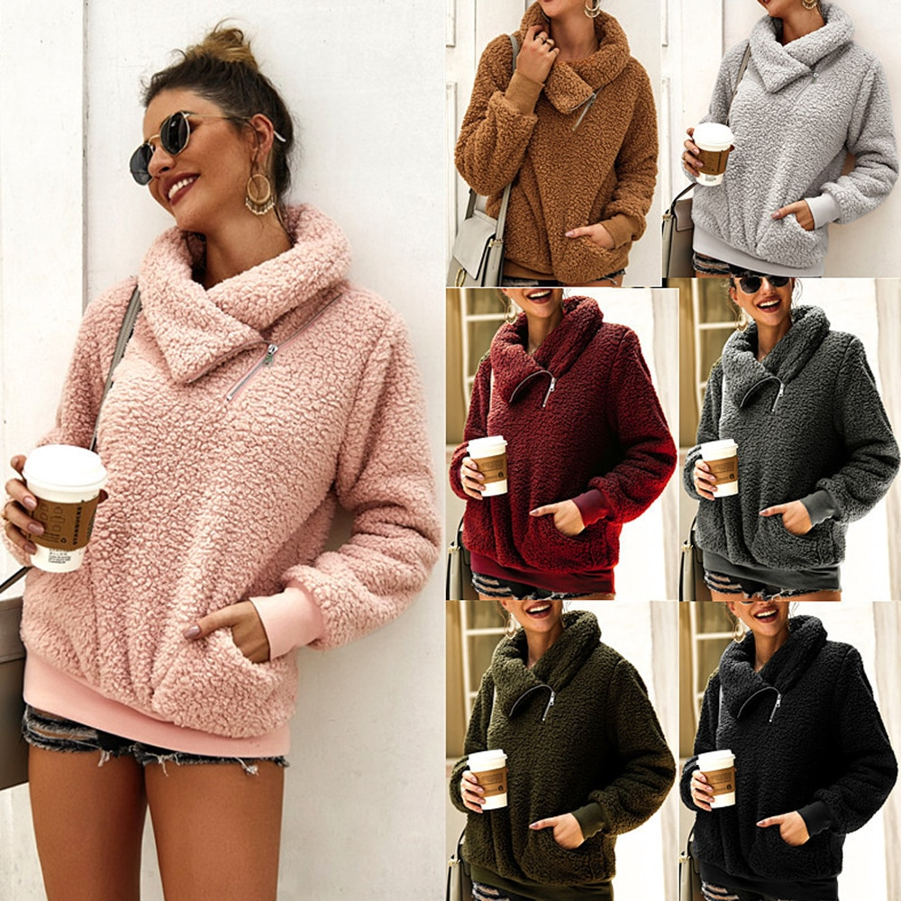 2020 New Fashion High Neck Plush Women's Jacket Autumn Winter Long Sleeve Slant Zipper Pocket Teddy Heavy Jacket Coat