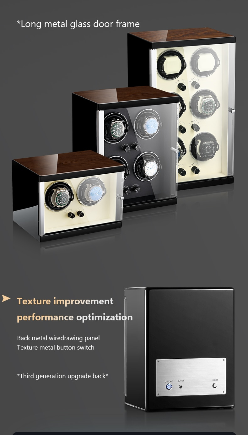 MELANCY Arrival Watch Winder for 6 Automatic Japanese Mabuchi Mute Motor Watches Storage Box Watch Display Case Box Gift enlarge