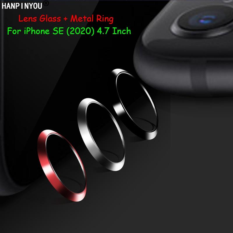 "Para Apple iPhone SE (2020) 4,7 ""cámara trasera cubierta de anillo circular de Metal + lente suave Ultra delgada película de vidrio templado Protector de la película"